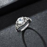 Fashion Women Round Cut White Sapphire 925Silver Ring Wedding Party Jewelry Gift