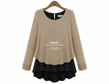 Chiffon Long Sleeve Machine Washable Solid Tops for Women