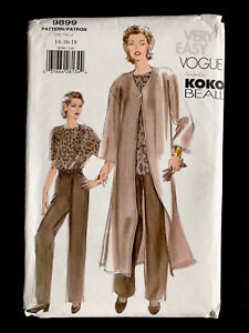 New FF Vntg Vogue Koko Beall Misses' & Petite Duster Top Pants 14 16 18 Sew 9899