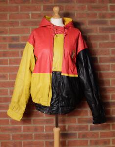 Vintage 80's Hip Hop JEKEL Leather Jacket Size Large Red Black Yellow