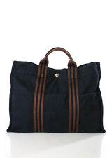 Hermes Dark Blue Brown Canvas Trim Fourre Tout Tote Handbag