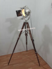 Beautiful Nautical Designer Spot Search Light Floor Lamp Tripod Brown Wood Stand