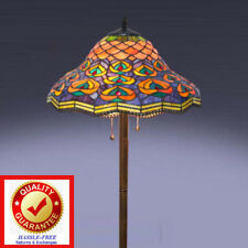 Peaccock Tiffany Style Handcut Stained Glass Floor Lamp, FREE Shipping