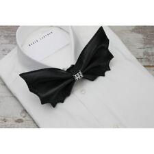 Black Bow tie Batman Leather Gothic Punk Neckwear Unisex Pretied Rock Cravat
