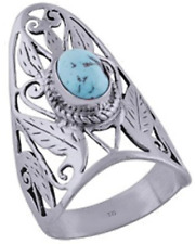 925 Sterling Silver 5.9 grams w/ Turquoise Cabochon Stone Statement Ring Sz 10