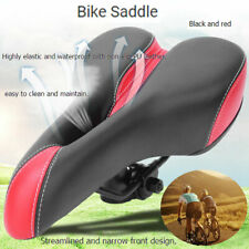 Bicycle Saddle Leather Soft intage Seat Bike Racing Black Red with Rain Cover