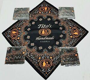 Lot of 5 Tito's Handmade Vodka Black Orange Paisley Logo Bandanas New In Package