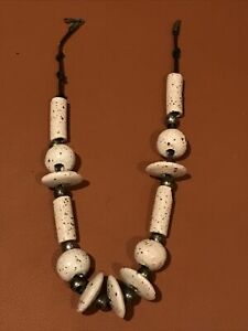 """18"""" Chunky Statement Necklace Cream & Brown Large Beads Tribal Ethnic Native"""