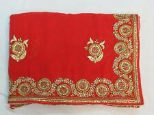 Bollywood Silk Co Indian Kundan Work Saree Embroidered Sari Bridal Party Dress