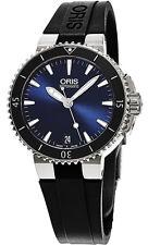 Oris Aquis Blue Dial Black Rubber Strap Swiss Auto Mens Watch 0173376524135RS