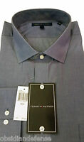 Tommy Hilfiger Shirt, Blue, Solid, 100% Cotton, Standard Cuff, Spread Collar