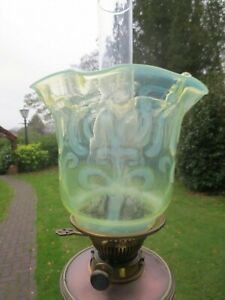 SUPERB ANTIQUE VICTORIAN VASELINE GLASS DUPLEX OIL LAMP SHADE SUIT WAS BENSON