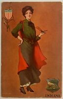 Antique Post Card 1906 Undivided Back Indiana Illustration Woman National Art Co