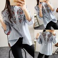 Women Floral Embroidery Striped Tops Blouse Casual Loose Long Sleeve Shirt New