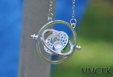 Silver Plated Time Turner Rotating Spins Hourglass Necklace Horcrux Hermione