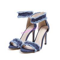 Womens Denim Sandals High Stilettos Heels Shoes Summer Vintage Pumps Zipper New