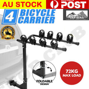 """AU 4 Bicycle Carrier Bike Car Rear Rack 2"""" Tow Bar Steel Foldable Hitch Mount"""