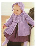Baby pleated coat & pixie hat knitting pattern in DK Baby girl, inc. Prem size