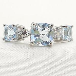 World Class 2.75ct Swiss Topaz & Diamond Cut White Sapphire 925 Silver Ring SZ 7
