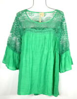 New Emerald Green  Boho Peasant Blouse Crochet Lace Shirt Top 3X NWT