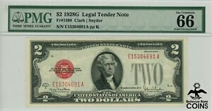 Series 1928-G US $2 Red Seal Federal Reserve Note PMG 66 Gem Unc FR#1508