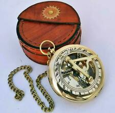 Solid Brass Sundial Nautical Compass With Leather Case and Chain Vintage Gift