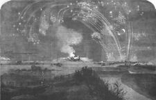 LONDON. Fireworks, Woolwich Marshes, Crimea Victory, antique print, 1855