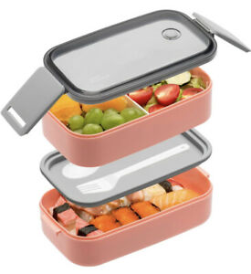 Stackable Bento Box For Adults Kids Dishwasher Freezer Safe Pink To-Go Portable