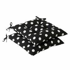 Pillow Perfect Indoor/Outdoor Black/White Polka Dot Tufted Seat Cushion, 2-Pack