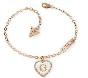 New Guess Bracelet Stainless Steel Rose Gold. Heart Shaped Charm