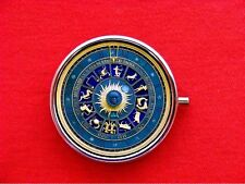 ZODIAC ASTRO CLOCK STEAMPUNK ROUND METAL PILL MINT BOX