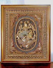 Antique KALAGA Burmese Relief Padded Embroidered Ramayana Scene Large Tapestry