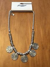 Lucky Brand Silver Tone Etched Multi-Medallion Necklace, NWT $34.5