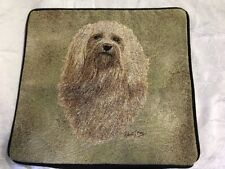 """Havanese Dog head portrait Zippered 17"""" Pillow Cover Woven Cotton Tapestry New"""