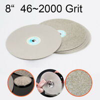 "8"" Diamond Coated Flat Lap Wheel Lapidary Sanding Polishing Disc 46~2000 Grit"