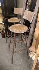 A Pair of Extra Tall Stools Wooden Movable Seats & Metal Legs/Foot Rest