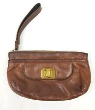 Vintage Juicy Couture Leather Handbag Coin Purse Brown Pebbled Small Bag Zip