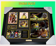 SALE! USAIN BOLT OLYMPICS LEGEND MEMORABILIA FRAMED LIMITED EDITION 499 w/ C.O.A