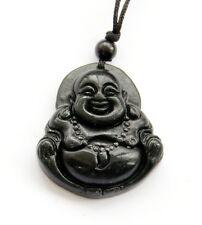 Tibet Buddhist Laughing Buddha Black Green Jade Amulet Pendant Talisman