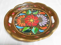 VINTAGE HANDCRAFTED WOOD TRAY DISH ~ FOLK ART ~ HAND PAINTED FLORAL MOTIF