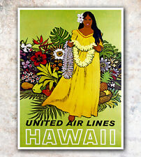"Vintage Travel Poster Print Hawaii 12x16"" Rare Hot New A274"