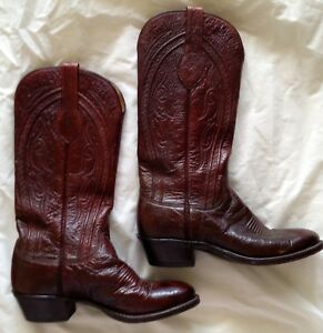 Details about  /Womens Lucchese 1883 Merlot Croc Skin Toe Tooled Cowboy Boots Size 6.5 **EUC**