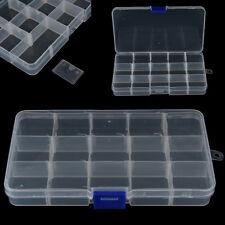 15 Slots Adjustable Plastic Fishing Lure Tackle Box Organizer Storage Case