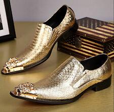 Business Slip on British Men Loafer Metal Pointed Toe Wedding Dress Formal Shoes
