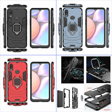 For Samsung Galaxy A10s, 3in1 Shockproof Rugged Grip Ring Car Holder Case +glass
