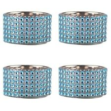 Pack of 4 - Decorative Blue Diamante Jewelled Tealight Candle Holders