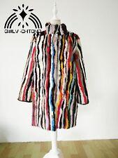 Real Mink Fur Coat Stand Collar Women Colorful Multi Color Vertical Bar Jacket