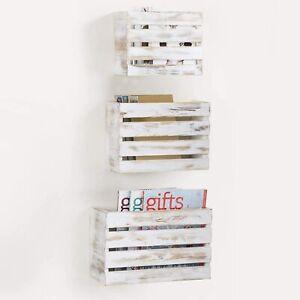 MyGift Set of 3 Whitewashed Wood Wall Mounted Mail and Magazine Storage Racks