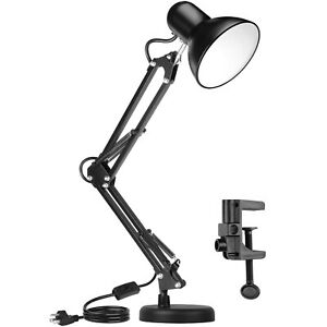 Metal Adjustable Swing Arm Desk Lamp, Eye-Caring Study Desk Lamps Black