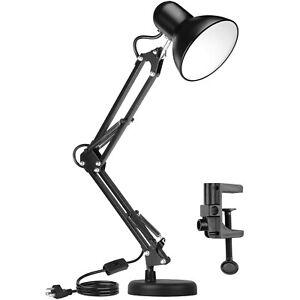 Metal Adjustable Swing Arm Desk Lamp, Eye-Caring Study Desk Lamps Black